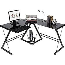 L Shaped Black Glass Desk Onespace Ultramodern Glass L Shape Desk Black
