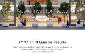 best buy quarterly sales apple to announce q3 2017 earnings on august 1 mac rumors