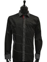 mens black white polka dot aysemetrical design dress casual trendy