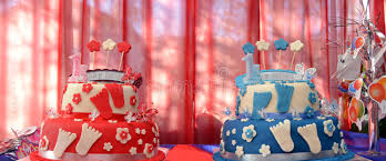 birthday cakes of twins brother and sister stock image image