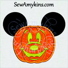 mickey mouse pumpkin applique halloween jack lantern 2 sizes