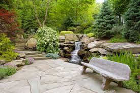 garden ideas backyard stone natural concept with small waterfalls