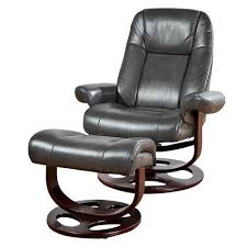 barcalounger warner pedestal faux leather recliner with ottoman