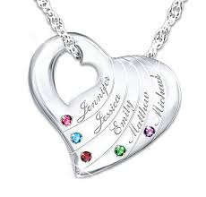 mothers necklace with birthstones engraved s necklace with 1 birthstone charm in sterling