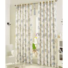 Nursery Curtain Classic Printed Blue Bicycle Pattern Poly Cotton Mediterranean