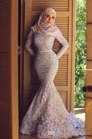 muslim engagement dresses lavender high neck sleeve fully lined mermaid muslim evening