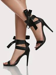 ribbon heels ribbon lace up heels black shein sheinside