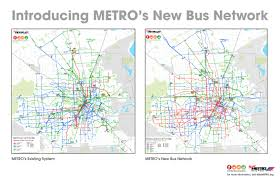 Routing Maps by Reimagining Metro On Houston U0027s New Bus Network Kinder Institute