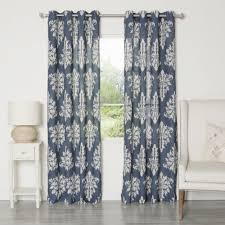 aurora home ikat linen grommet top 84 inch curtain panel pair by