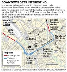 bart extensions bart extension to downtown san jose will come to one or two bores