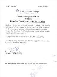 Self Certification Notification Letter Jharkhand Rai University