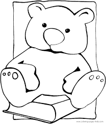 teddy bear on a book color page