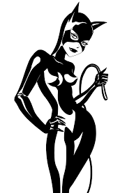 catwoman clipart black and white pencil and in color catwoman