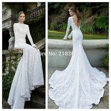 com buy long sleeves backless lace wedding dress long with train