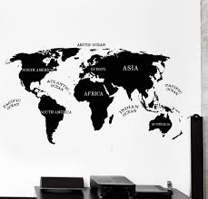 vinyl wall decal world map atlas africa america atlantic