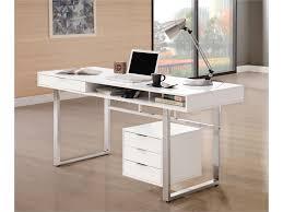 White Modern Desk by Glossy White U0026 Chrome Modern Desk 800897 Savvy Discount Furniture