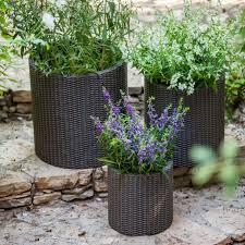 keter rattan planters 3 piece set hayneedle