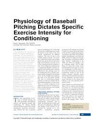 physiology of baseball pitching dictates specific exercise