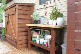 appealing potting bench with lumber shed combined wooden top