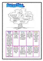 english teaching worksheets social values