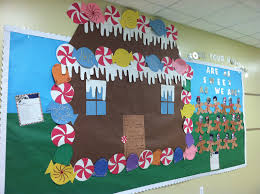 winter bulletin board idea like the gingerbread house caption