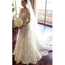 custom made wedding dress classic lace a line wedding dress 2017 sleeve with flowers