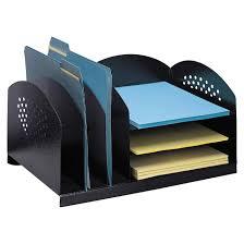 Desk Organizers Safco Combination Rack 6 Compartment Desk Organizer Black