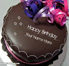 write name on happy birthday chocolate cake with name