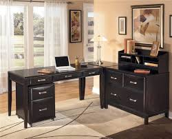 L Shaped Desk Home Office Endearing L Shaped Black Wooden Best Home Office Desk Chrome Stain