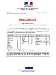 vote horaires des bureaux 2017 06 14 elections législatives horaires des bureaux de vote en pf