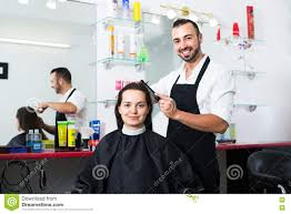 man hairdresser and woman client stock photo image 77067717