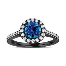 black and blue wedding rings halo engagement ring blue topaz bridal ring vintage style