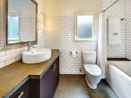white bathroom with blue glass tile backsplash also bathroom glass