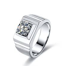 1 carat 18k white gold ring real diamond men s wedding