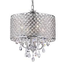 Crystal And Chrome Chandelier Marya 4 Light Round Drum Crystal Chandelier Ceiling Fixture Chrome