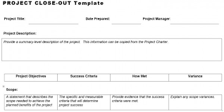 project close out template u2013 planning engineer est