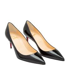 christian louboutin black decollete 554 70 patent leather pumps