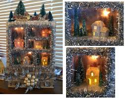 miniature halloween village karin corbin miniatures christmas village shadow box scene