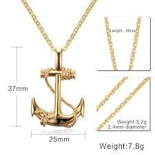 pendant necklace chain length images Men stainless steel necklace gold color titanium anchor pendant jpg
