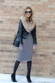 striped dress leather jacket see jane wear see anna jane