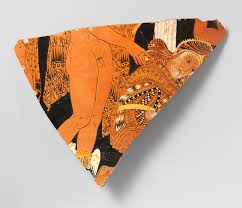 Greek Black Figure Vase Painting Fragment Of A Terracotta Calyx Krater Mixing Bowl Attributed