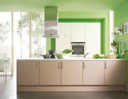 contemporary kitchen with green decoration and modular kitchen