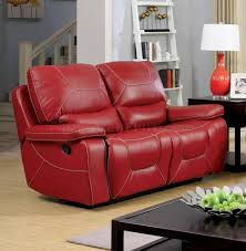 Red Leather Reclining Chair Reclining Sofa Cm6814rd In Red Leather Match W Options