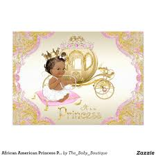 african american princess pink gold baby shower card ethnic