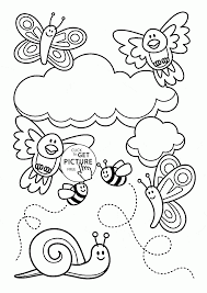 baby animal and spring coloring page for kids seasons coloring
