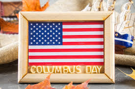 happy columbus day text concept of the us holiday the discoverer