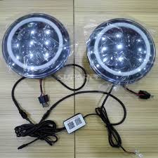 halo theme jeep 7 u0027 u0027 led headlight with bluetooth control rgb halo drl h l for jeep