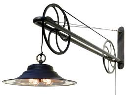 Articulating Arm Wall Sconce Large Pulley Industrial Swing Arm Lamp At 1stdibs
