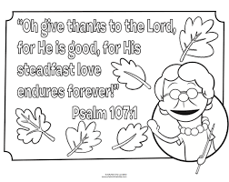 bible coloring page for thanksgiving psalm 107 1 fall