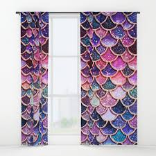 Pink And Purple Curtains Pink Purple Trendy Glitter Mermaid Scales Window Curtains By